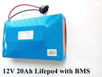 Lifepo4 12V 20Ah lifepo4 battery pack with BMS for velo electrique Solar LED lighting motorcycle xenon lamp electric tools ebike