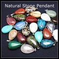 5pcs nature stone pendant turquoise rose quartz opal jasper jade crystal size 15x24mm charms jewelry pendant dropwater