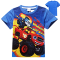 Blaze E O Monstro Meninos T-shirt Novo Verão de Algodão de Manga Curta Meninos T Camisa de Algodão Do Bebê Dos Miúdos Dos Desenhos Animados Cobre T