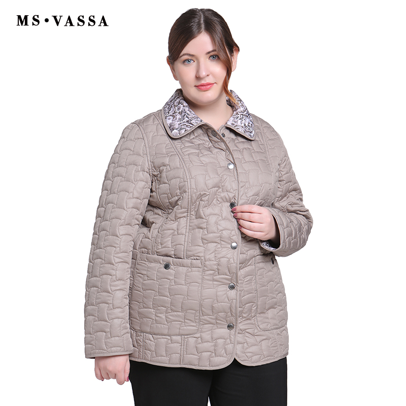 MS VASSA Autumn Women jacket Double sided w ladies casual jacket with flock turn down collar plus size Cota S   7XL outerwear-in Jackets from Women's Clothing    2