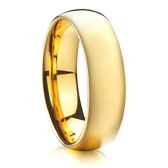 Gold Color Wedding Band Tungsten Ring Men Comfort Fit Fashion Jewelry Rings For