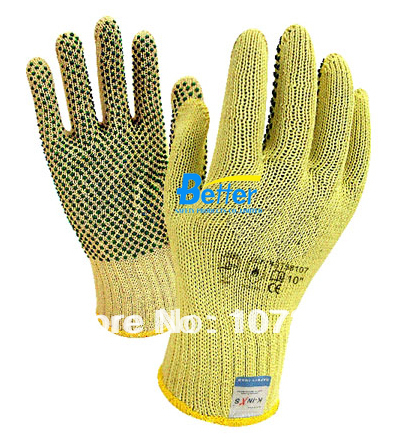 Aramid Fiber Gloves With PVC Dots Anti Cut Work Gloves HPPE Cut Resistant Work Gloves pvc sandblaster gloves 60cm