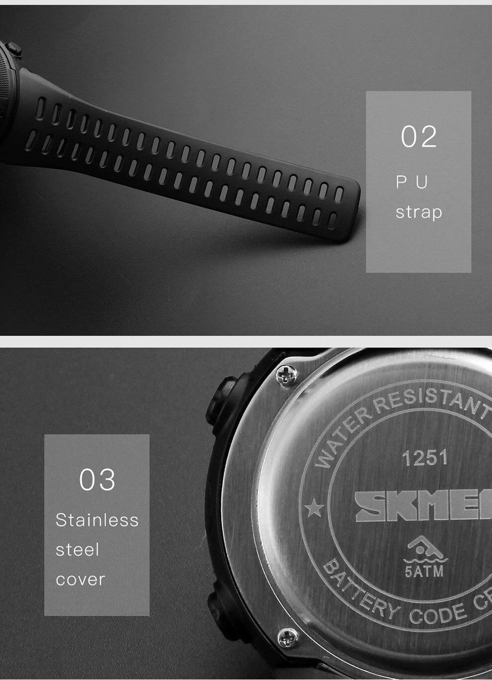 masculino multifunções relógios despertador chrono 5bar relógio