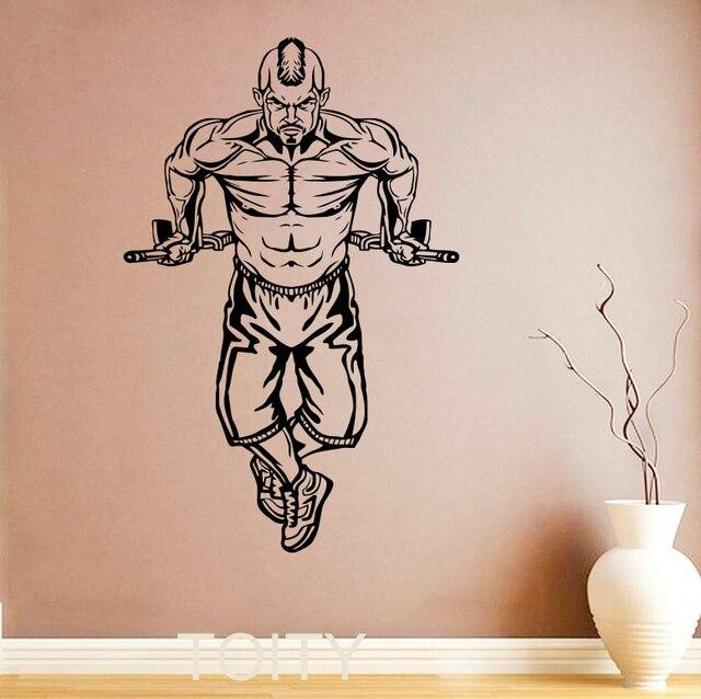 Bodybuilder Wall Stickers Bodybuilding Vinyl Decals GYM Home Room Interior Design Art Murals Teen Sport Club