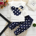 2017 New T-shirt Leggings Pants Baby Kids Suits 2 Pcs Fashion Girls Clothing Sets Minnie Children Clothes Bow Tops Suit Retail