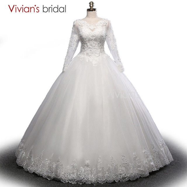 Vivian\'s Bridal Lace Ball Gown Wedding Dress Beaded Sequin Long ...