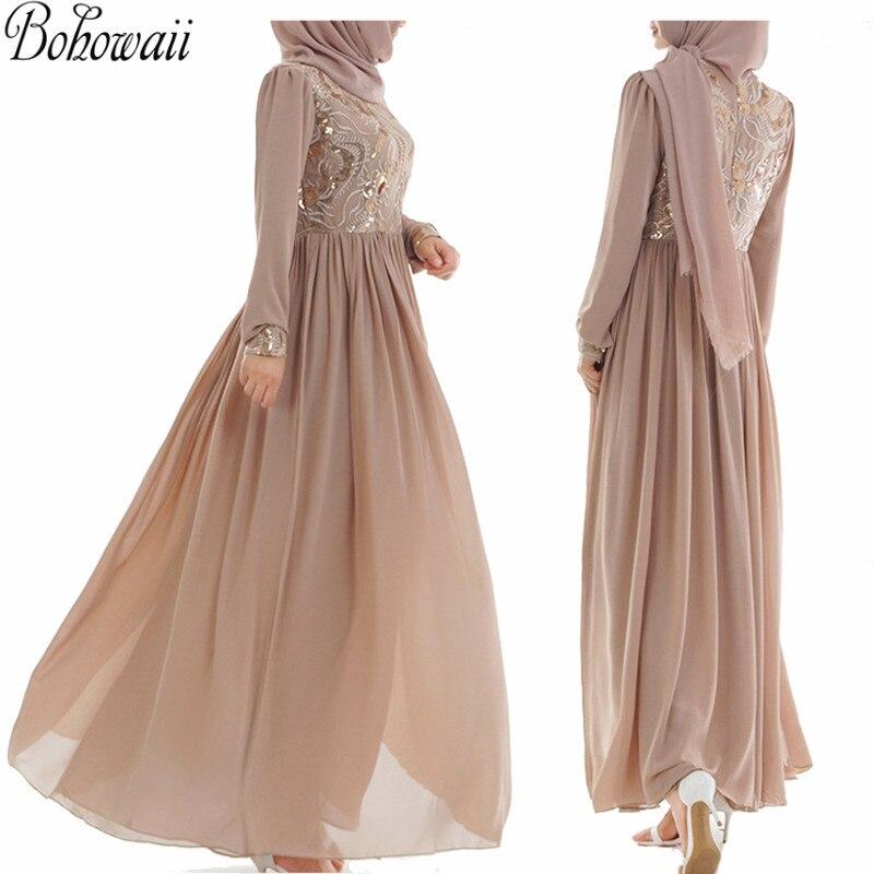 BOHOWAII doux luxe musulman Robe paillettes dentelle caftan Dubai femmes à manches longues Robe Islamique arabe Islamique vêtements Abaya