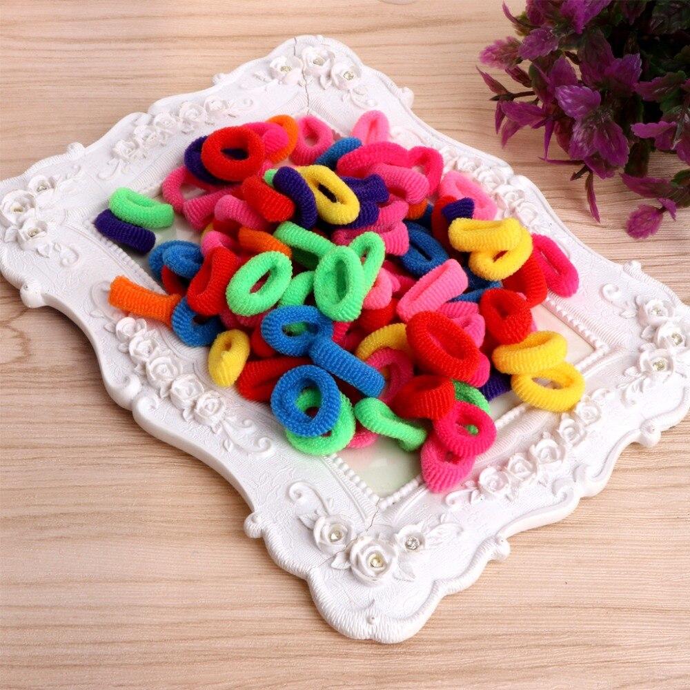 100Pcs Kids Girl Colorful Elastic Hair Tie Band font b Baby b font Girl Rope Ring