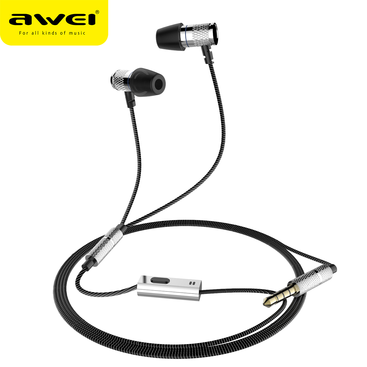 AWEI ES-660i Wired Earphones HiFi Stereo In Ear Earpiece Super Bass Sound Sport Music Earbud fone de ouvido casque auriculares awei es 660i mini earphone with microphone metal headset hifi fone de ouvido audifonos casque for iphone samsung huawei phones