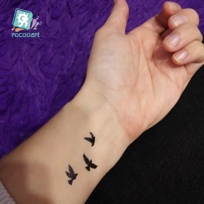 Classic Black Tatoo Rose Bird Smileface Fake Tattoo Tatuajes Hand Tatouage Body Waterproof Temporary Tattoo Sticker Small Taty