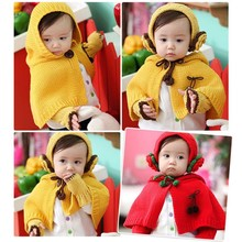 (A shawl+ A Earmuff + oversleeves ) children set baby infant warm knitting set protect ears