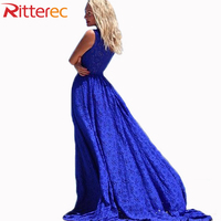 2015 Summer New Fashion Women Solid Color Patchwork Lace Beach Dress Sleeveless O Neck Blue Maxi