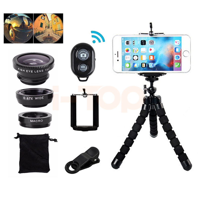 7in1 Phone Camera Lens Kit Fisheye Wide Angle Macro Lentes For iPhone 6 6s 7 8