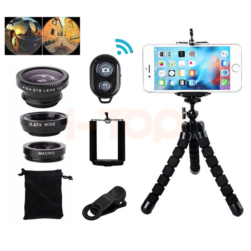 7in1 Phone Camera Lens Kit Fisheye Wide Angle Macro Lentes For iPhone 6 6s 7 8 Plus 5 5s Smartphone Tripod Bluetooth Shutter