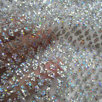 1 piece sparkling sequins scale net fabric french luxurious prom dresses glitter glue print mesh fabric african wedding dress