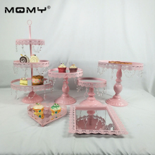 Pink Wedding Dessert Table Decoration Cake Stand Tray Set mirror tray