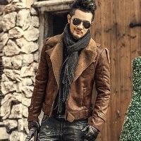 Кожаная куртка s Для мужчин Меховые пальто толстые теплые из искусственной кожи короткие черные куртки Для мужчин s slim fit мотоцикл Кожаная ку...