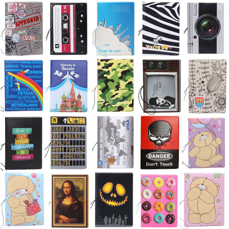 New Boys Like Cool Cartoon Passport Holders, Men Travel Passport Cover, Pvc Leather 3D Design 22 Different Styles To Choose