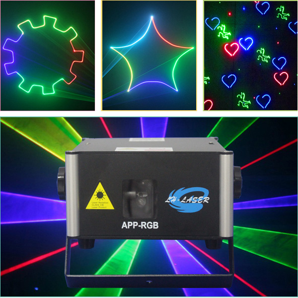 Programmable text design mobile phone APP full color 1000MW animation laser wedding lights laser show system