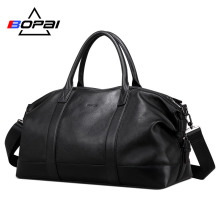 BOPAI 2019 Genuine Leather Travel Duffle Bags Men Soft Top Layer Cow Weekend Unisex Real duffel