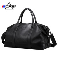 BOPAI 2019 Genuine Leather Travel Duffle Bags Men Soft Top Layer Cow Leather Weekend Travel Bags Unisex Real Leather duffel Bags