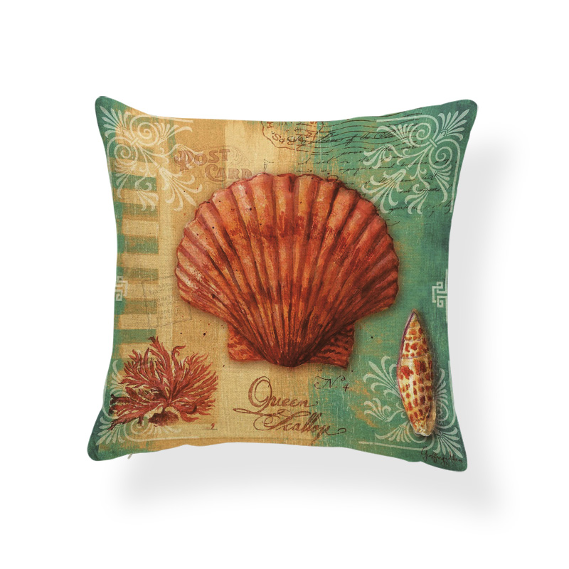 Nautilus Starfish Cushion Cover Ocean Word Scallop Pillow Case Classic Couch For Sofa Pillow With Cover Coral 45x45cm Polyester Cushion Cover