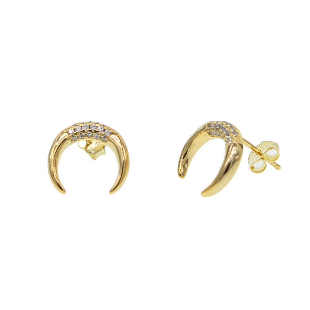 Crescent Moon Stud Earrings 925 Sterling Silver