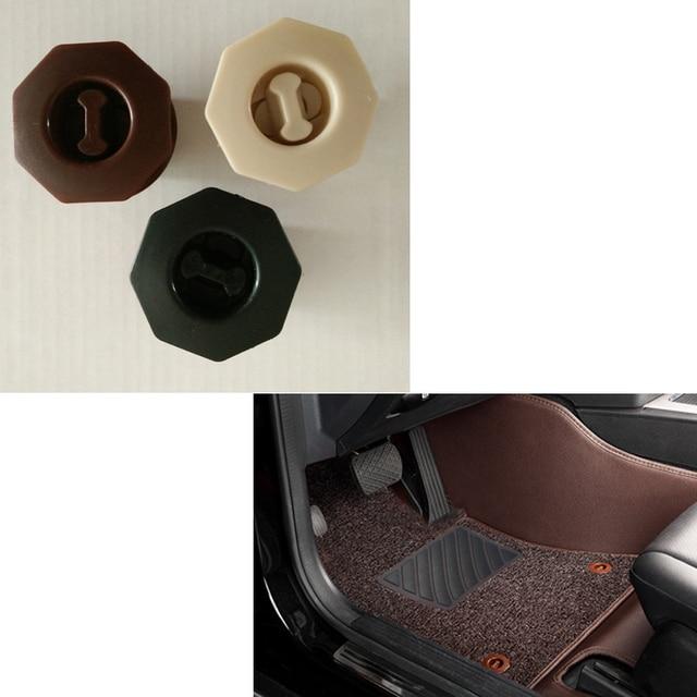 4 unids/lote almohadilla de pie de coche hebilla de tarjeta fija doble cubierta extraíble alfombrillas de coche hebilla de pomo de plástico para Volkswagen Buick toyota