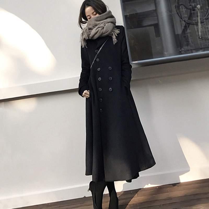 Veste Laine Black Hiver Nouvelles Manteau Femmes Mince Survêtement Haute Mode Noir Pr555 Qualité Coréenne 2018 Double Élégantes De Boutonnage URAXnnp