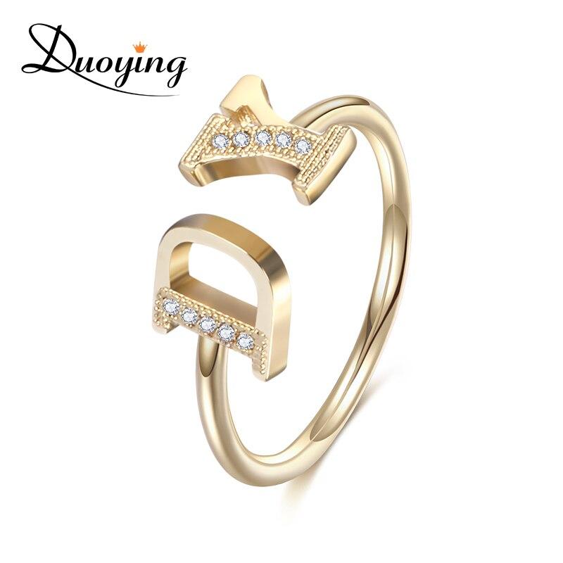 Duoying 7mm Personalisierte ihr Anfangsbuchstaben Ring Zirkonia Micro pflastern Ringe für Etsy Einfache Luxus Ring für Frauen Öffnen Ring