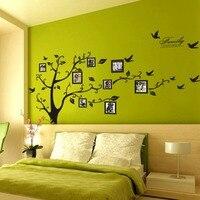 Envío Gratis: Large 180*250 Cm/71 * 99in Negro 3D DIY Foto Tree PVC Wall Stickers/Familia de adhesivo Pegatinas de Pared Arte Mural Decoración Para El Hogar