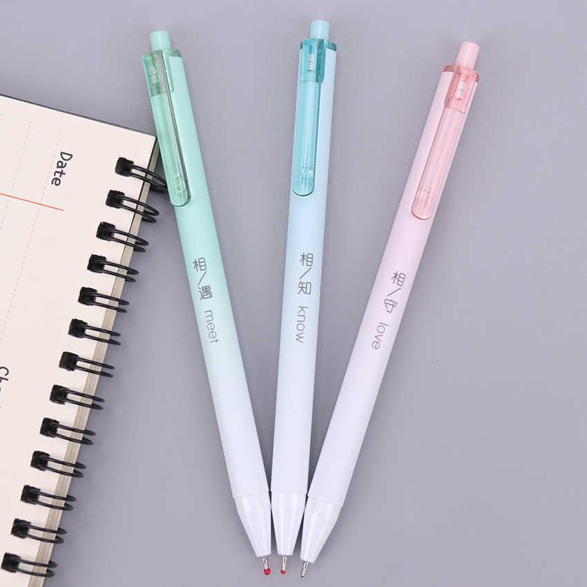 1 قطعة قلم الأزياء الإبداعية 0.7 مللي متر الصحافة القلم لكتابة مكتبية المدرسة القلم بالبن الأزرق عبوة OG-5977