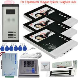 3 Видео для квартир домофон с электромагнитный замок 4,3 дюймов Цвет домашнего видео-телефон двери Система контроля доступа ИК Ночное