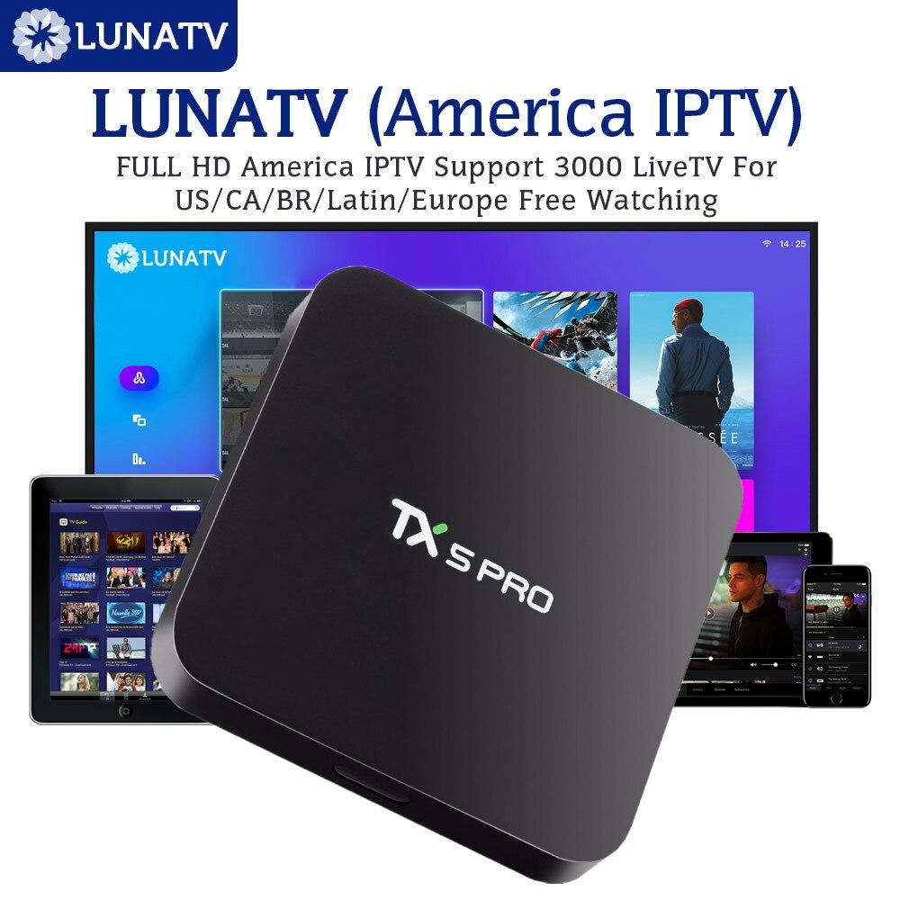 TX5PRO avec 1 an LUNATV US Canada brésil Latin IPTV Smart IPTV décodeur Android TV Box 2/16G Quad Core lecteur multimédia