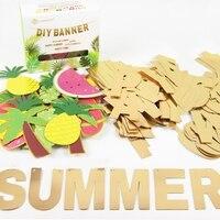 Hello Summer DIY Letter Banner Fruits Kit Pineapple Garland Tropical Hawaiian Wedding Birthday Bridal Shower Pool
