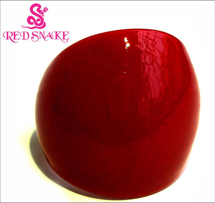 สีแดงงูแหวนแฟชั่น Handmade แก้วสีแดง Murano แหวน