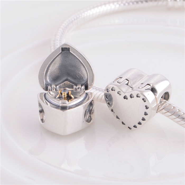 150a2ff28 NEW S925 Sterling Silver Heart Gift Box and Ring Charm Bead With CZ Fits  For European Style Jewelry Charm Bracelets & Necklaces