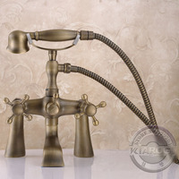 Bathroom Clawfoot bathtub faucet & hand shower.Deck mounted three handle tub faucet & hand shower.Basin sink Mixer Tap GY 854