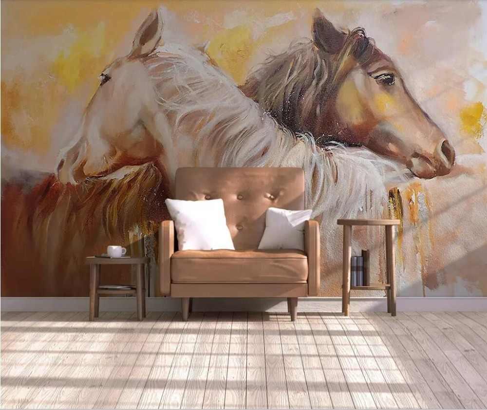 Nordic contratada amantes do cavalo decoração da parede de fundo pintura aquarela pintada