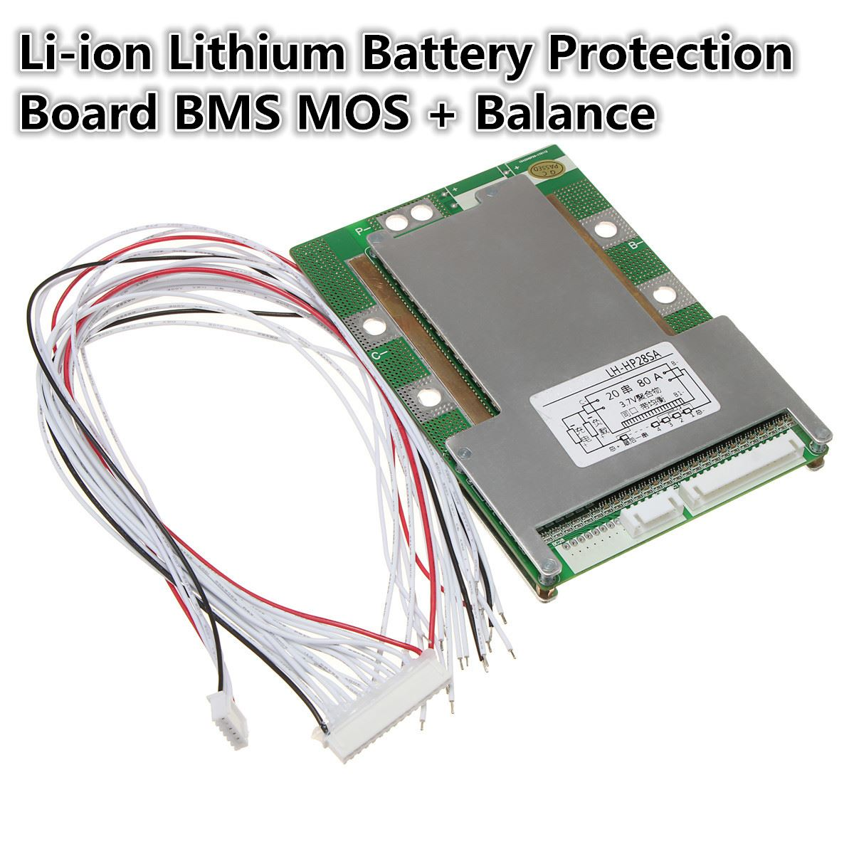 1PC New Arrival 20S 72V(84V) 80A 18650 Li ion Lithium Battery Protection Board BMS MOS + Balance Module