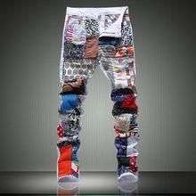 Высокое качество белый лоскутная джинсы мужчины дизайнерский бренд разорвал байкер джинсы свободного покроя эластичные брюки хип-хоп узкие джинсы уменьшают подходящие