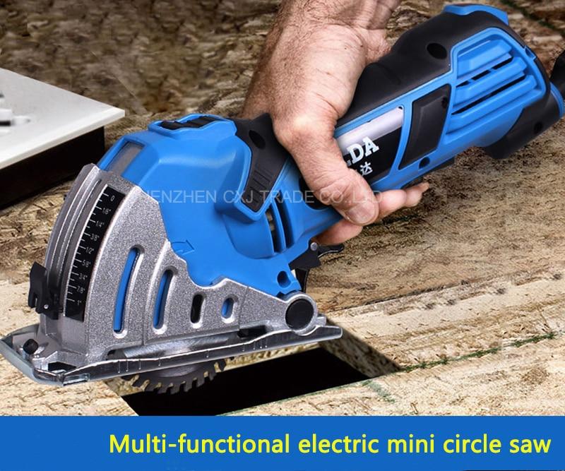 Бесплатная Доставка по DHL Электрический mini циркулярная пила мини пилораме дом провести металлический шкив Rail циркулярная пила электрическ