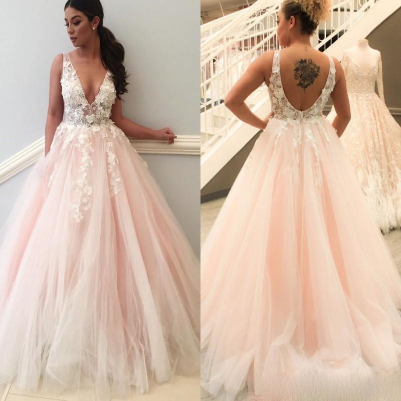Best Promo 2019 Blush Pink Wedding Dresses Lace A Line V Neck Open
