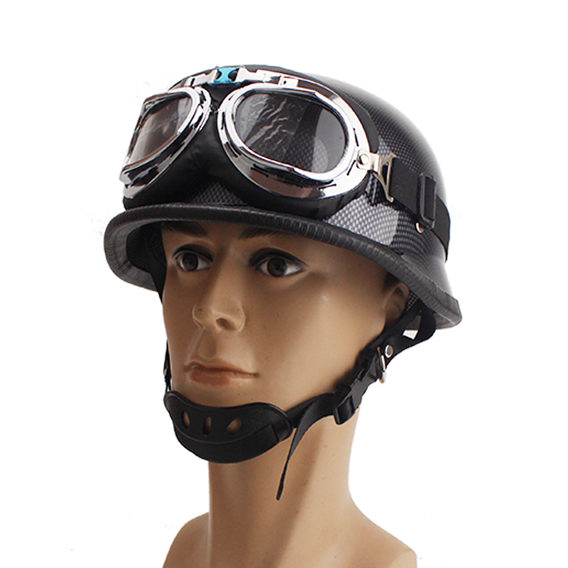 Army-Helmet Scooter Moto-Casco Silver Vintage Summer Chrome Mirror with Pilot-Goggles
