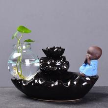 The Little Monk Ceramic Backflow Incense Burner Smoke Waterfall Stick Holder Smell Aromatic Home Office Crafts