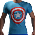 2016 Fashion Quick Dry Fitness T shirt Men Summer Style Short Sleeve Camisa Masculina Shield Captain America Breathable Bicycle
