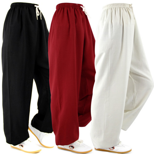 2018 Spring Autumn Fluid Taichi Pants Martial Arts Pants Plus Size Loose Bloomers Antistatic Kungfu Pants National Trousers Men
