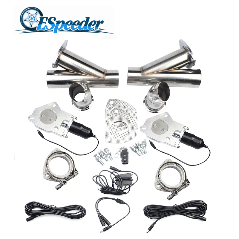 ESPEEDER 2 Remote Control Exhaust Tip Muffler Stainless Steel Headers Y Pipe Catback Pair Electric Exhaust Cutout Pipe Kit