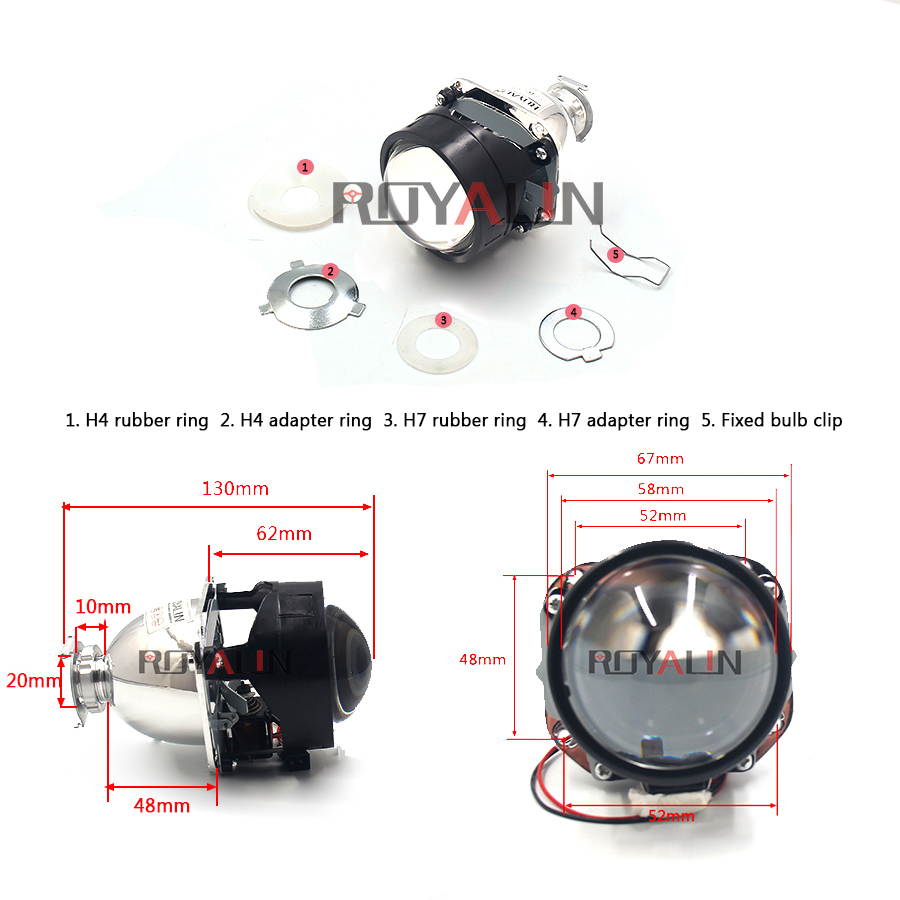 ROYALIN Bi Xenon Φακός HID H1 H1 Mini προβολέα 2.5 '' - Φώτα αυτοκινήτων - Φωτογραφία 3