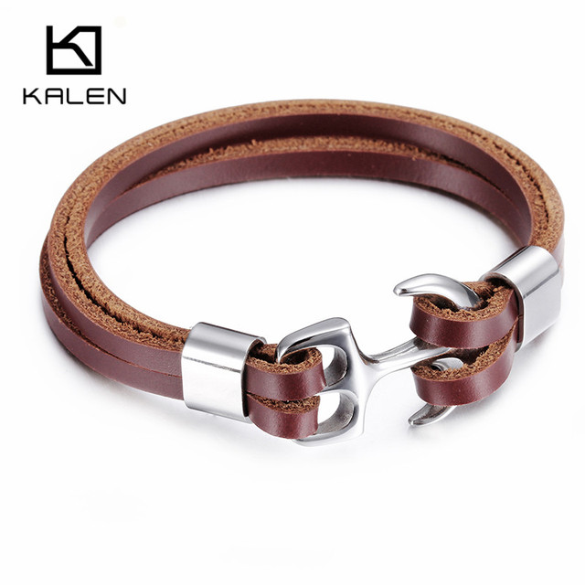 Kalen Men's Brown Leather Bracelet Fashion 316 Stainless Steel Anchor Charm Personalised Bracelet For Small Wrist Punk Accessory